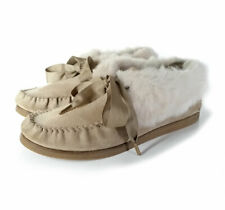 $195 Tory Burch Booties 8 Aberdeen Sand Suede & Rabbit Fur Slippers *LOVELY* 8