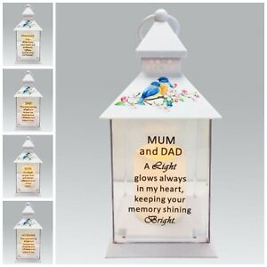 Memorial Light Up Lantern -  Bird Floral Candle Graveside Memory Remembrance