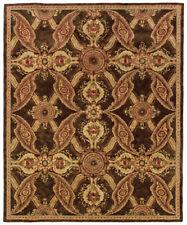 Brown Transitional Synthetics Panels Damask Leaves Area Rug Patchwork 3066V