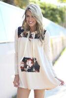 Korean Fashion Women Long Sleeve Floral Casual Pullover Hoodies Dress Pocket Top