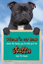 Black Staffordshire Bull Terrier Welcome Sign Great Christmas Stocking Filler