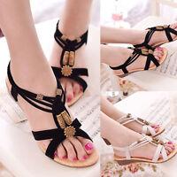 Bohemia Women Summer Beads Slipper Flip Flops Flat Sandals Beach Thong Shoes CA