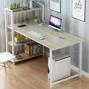 Laptop Desk Modern Style Computer Desk with 4 Tiers Bookshelf for Home Office