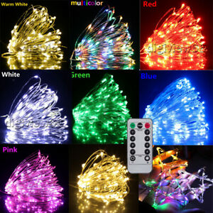 50LED Fairy Lights Battery Operated Micro Copper Silver Wire Xmas Wedding Decor