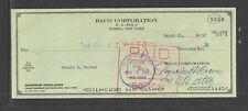 1967 BACO CORPORATION ELMIRA NY MARINE MIDLAND TRUST ANTIQUE BANK CHECK