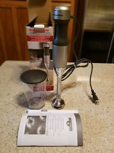 NIB KitchenAid 2 Speed Hand Blender Mixer KHB1231 Silver