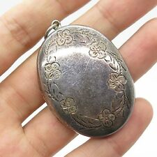 Vtg 925 Sterling Silver Large Oval Locket Pendant