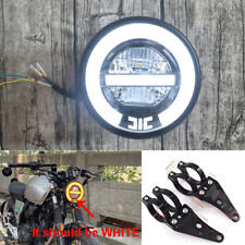 """6.8"""" Retro Motorcycle White LED Headlight Day Driving Lamp+41mm CNC Fork Holders"""