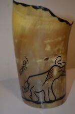 Senegal Africa Zebu Horn Cup w/ Elephant Animal Nature African Folk Art VTG NEW