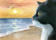 ACEO art print Cat 588 Tuxedo Winter from original painting by L.Dumas