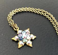 "Michal Negrin Multi Color Stone Star Snowflake  Necklace 18"""