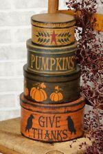 Primitive Fall Autumn Halloween Nesting Boxes Set 4 Pumpkins Crows Thanksgiving