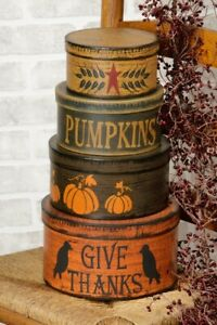 Primitive Fall Autumn Halloween Nesting Boxes Set 4 Pumpkins Crows Thanksgiving