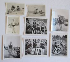 6 Original Black & White Photo's Beach Scene's Bathing Suits, Old Cars 1930's