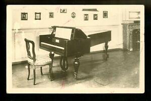 Music real photo postcard RPPC Instruments piano Vintage