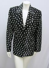 VINTAGE GIANFRANCO FERRE JACKET BLACK & WHITE DOT DASH PRINT SHINY SIZE 48 L