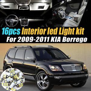 16Pc Super White Car Interior LED Light Bulb Kit Pack for 2009-2011 KIA Borrego