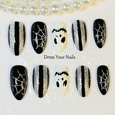 False Nails Black Full Cover Fake Stiletto  Halloween Web Stripes Ghost SP-0991