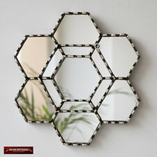 "Handmade Hexagonal Wall Mirror 11.8"" from Peru, Silver Accent Mirror Decorative"