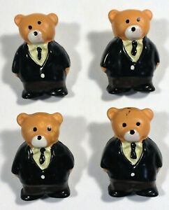 Vtg JHB International Realistic Novelty Plastic Resin BUTTONS Sweater Dad Bear