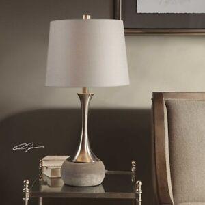 NIAH MID CENTURY FLAIR SPUN METAL CONCRETE BASE TABLE LAMP UTTERMOST 27875