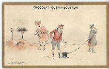 Chromo Guérin Boutron Scénette jardinage jeux de plage enfantina humour