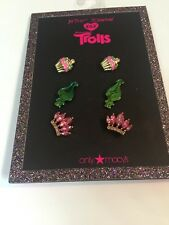 $32 Betsey Johnson Set Of Three Troll Earrings Cupcake Stud Earrings T1
