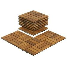 "BARE-WF2009 Solid Teak Wood Interlocking Flooring Tiles (Pack Of 10), 12"" X 12"","
