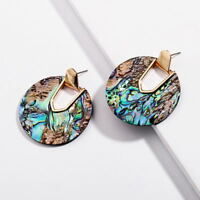 Delicate Bohemia Geometric Round Disc Abalone Shell Stud Earrings 2018 Girl Gift