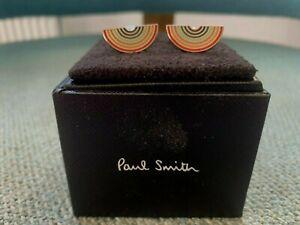 PAUL SMITH RAINBOW ENAMEL & SILVER CUFFLINKS IN BOX Brand new