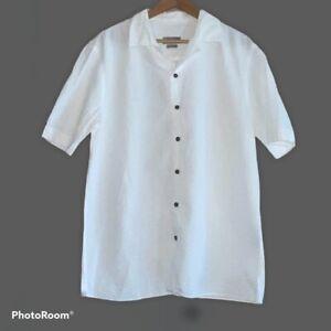 Zara Man Short Sleeve White Button Down Shirt Ribbed Texture MENS Large