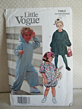 Little Vouge #7953 Vintage 1990 Childs Size 4-5-6 Jumpsuit & Dress, Hood - Easy