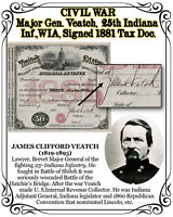 CIVIL WAR U.S. Major General Veatch 25th Indiana Inf., WIA, 1881 Signed Document
