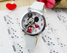 Kids Girls Mickey Mouse Wrist Watch Analogue Leather Strap UK White Slim b