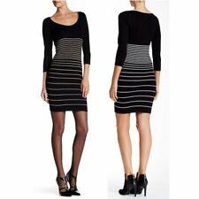 Max Studio Knit Dress S Black Ivory Stripes Bodycon Mini 3/4 Sleeves NEW