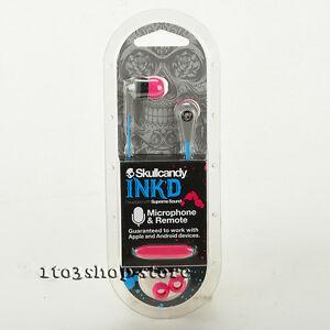 Skullcandy Ink'd 2 In-Ear Buds Headphones w Mic+Remote Headset (Gray Cyan Pink)