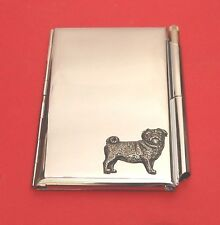 Pug Dog Motif on Chrome Notebook / Card Holder & Pen Christmas Gift