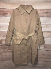 Anne Klein Womens Beige Trench Coat Sz S Hooded Long Button Front NWT $200 LBB76