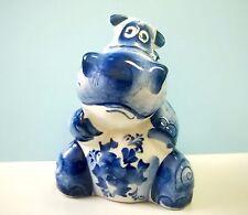 Hippopotamus figurine porcelain handmade souvenir from Russia