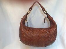 Cole Haan Handbag Shoulder Bag 2 pc Set Wallet Tan Braided Leather Zip Closure