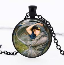 Gypsy Wind art Black Glass Cabochon Necklace chain Pendant Wholesale