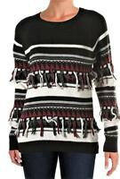 THE LANE $278 CASHMERE WOOL Black Gray White Striped SWEATER M NWT