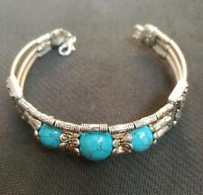 Ladies Bangle Tibetan Silver Bracelet Blue Turquoise Woman Bracelet