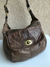 Fossil Long Live Vintage Bag Brown Distress Leather Flap Handbag Turn lock Purse