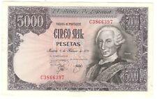 BILLETE ESPAÑA 5000 PESETAS 1976, CARLOS III. MBC. EL DE LA FOTO. 2 AGUJERITOS