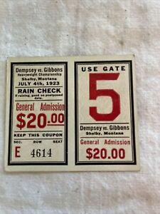 Jack Dempsey vs Tommy Gibbons Boxing Rain Check Ticket Stub l1923