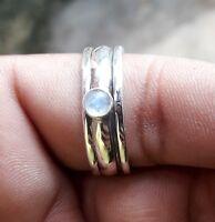 Rainbow Moonstone Solid 925 Sterling Silver Spinner Ring Meditation Ring Handmad
