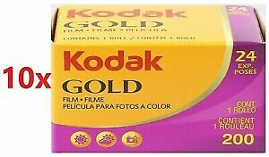 10 Rolls Kodak Gold 200 24 Exposures 35mm Color Negative Film Fresh 11/2022