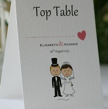 WEDDING TABLE Number Cards Personalised Freestanding Double Sided - Bride/Groom