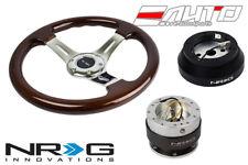 """NRG 330mm Brown Wood CH Spoke Steering Wheel 1.5"""" DP 140H Hub 2.0 Silver Release"""